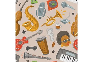 Jazz musical instruments tools jazzband music seamless pattern background vector illustration