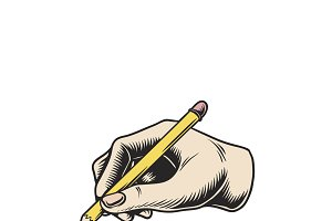 Illustration of a hand writing