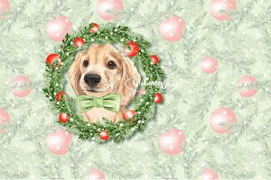 Christmas pattern and Dog
