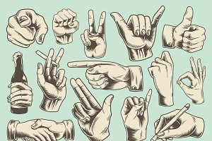 Collection of illustrated hand signs