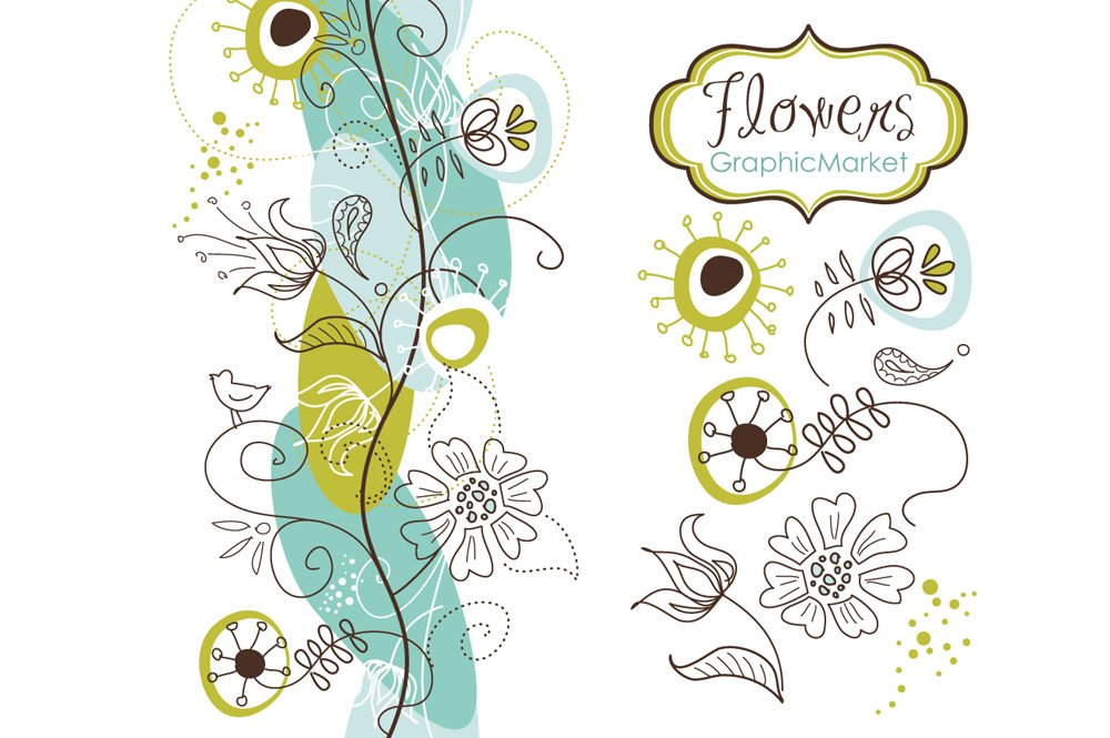 14 Flowers And A Floral Borders Illustrations Creative Market