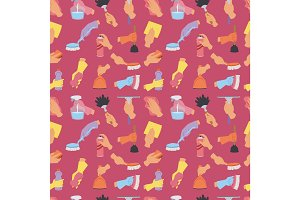 House cleaning service domestic tools houseowner hands isolated seamless pattern background