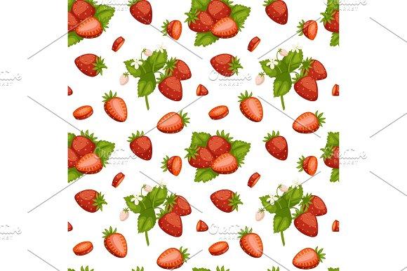 Cartoon Fresh Strawberry Fruits Seamless Pattern Berry Summer Design Vector Illustration