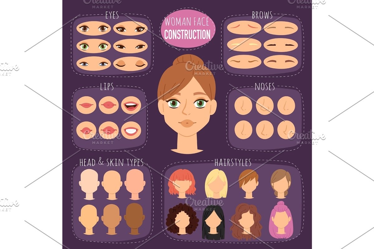 3940a33486226 Woman character constructor cartoon woman face parts creation spare ...