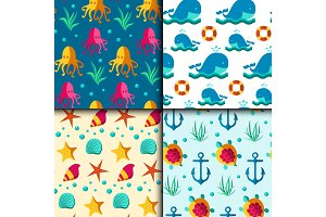 Seamless vector patterns with nautical elements wave marine collection paper sea background