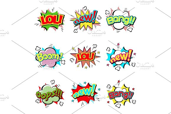 Pop art comic speech bubble boom effects vector explosion bang communication cloud fun humor illustration
