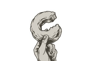 Illustration of hand holding donut