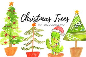 Watercolor Christmas Tree clip art
