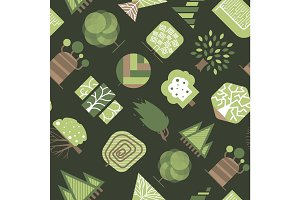 Vector geometric tree wood forest eco graphic seamless pattern background illustration.
