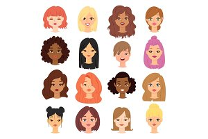 Different ethnic nationality affiliation woman head face vector icons.