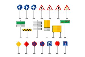 Road symbols traffic signs graphic elements isolated city construction creative street highway information vector illustration