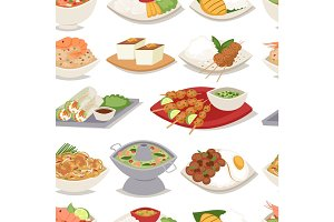 Traditional thai food asian plate cuisine thailand seafood cooking seamless pattern background vector illustration.