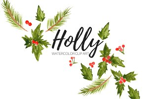 Watercolor Holly Clip Art