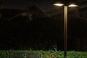 Bench under a lamp