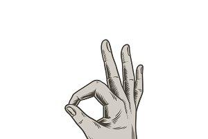 Illustration of a hand making ok