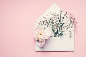 Envelop with flowers, mock up
