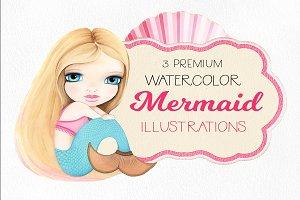 mermaid watercolor illustration