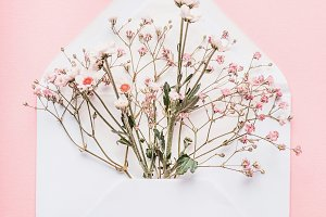 Opened envelope with pink flowers