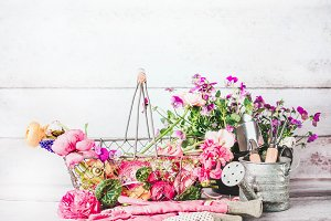 Gardening setting with pink flowers
