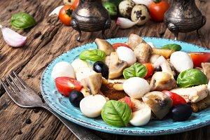 Greek salad on retro background