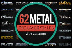 Metal & Chrome Layer Styles Bundle