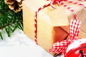 Christmas gift box on festive holiday background