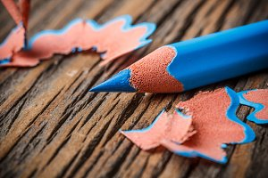 Sharpened blue pencil