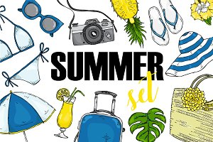 Vector summer set items for vacation