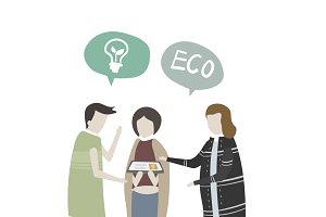 Illustration of human & environment