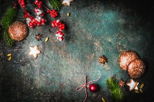 Dark Christmas vintage background