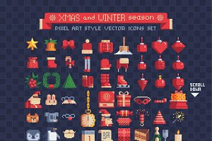 winter and xmas icons set