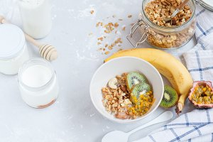 Healthy breakfast: muesli, yoghurt,