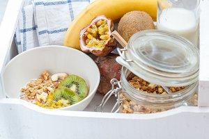 Healthy breakfast: muesli, yoghurt,