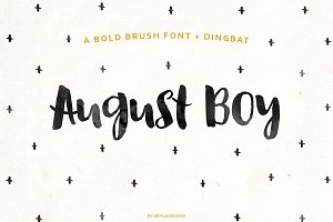Bold brush font + Dingbat August Boy