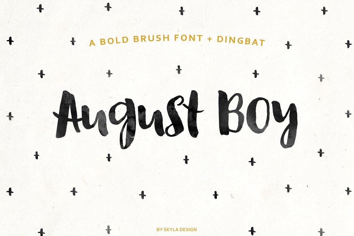August Boy bold brush font + Dingbat ~ Display Fonts ~ Creative Market