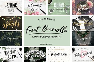 Brush Font Bundle + Extras