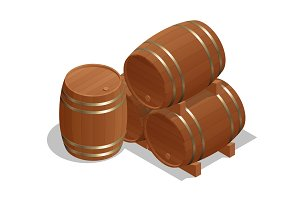 Isometric Wine Barrels isolated on white background. Vector illustration barrel wood.