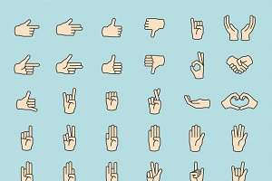 Hands gesture set vector