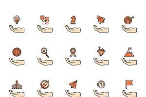 Business achievement icon set vector