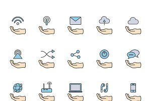 Online network icons set vector