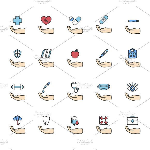 Healthy Living Icons Set Vector