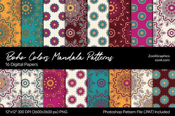 Boho Colors Mandala Digital Papers