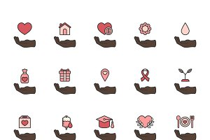 Donation support icons set vector