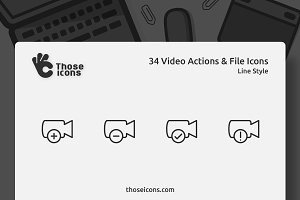 34 Video Actions & Files Line Icon