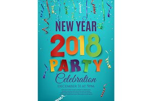New Year 2018 party poster design template.