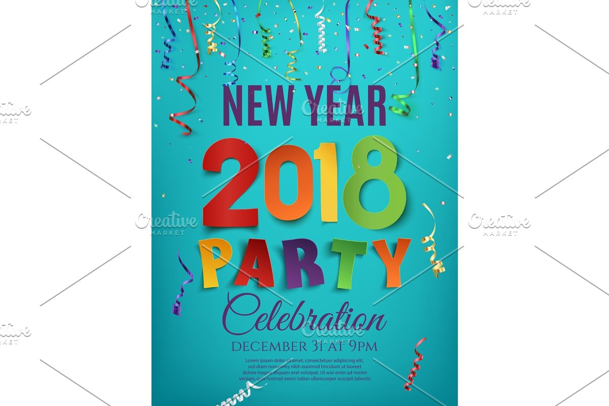 save new year 2018 party poster design template