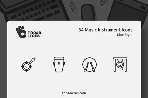 34 Music Instruments Line Icon
