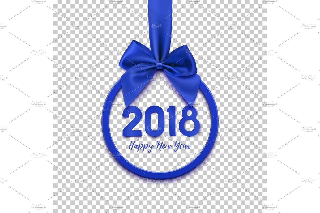 happy new year 2018 round banner with blue