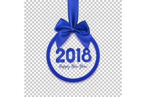 Happy New Year 2018 round banner with blue ribbon and bow.