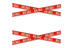 Big sale red banners. Ribbons isolated on white background.